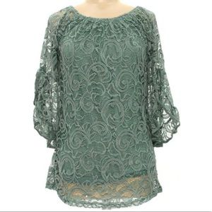 Teal Lace Tunic with Flowy Sleeves